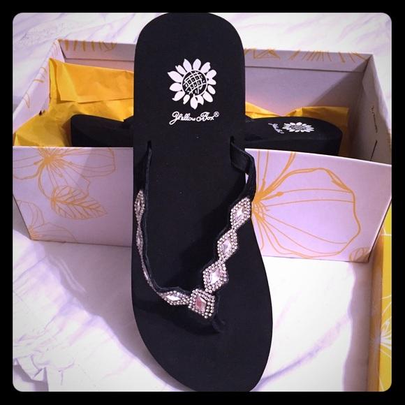 Yellow Box Shoes | Rhinestone Flip